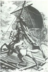 Das Floß der Medusa. Holzschnitt unter Verwendung zweier Bilder von Géricault.